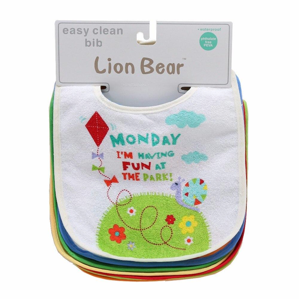 LionBear 7PCS/Lot Detachable Baby Bibs Waterproof Bandana Newborns Cotton Feeding Apron For Babies Cartoon Bibs Baby Accessories
