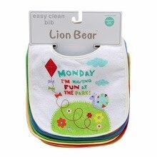 Lion Bear 7PCS/Lot Removable Child Bibs Waterproof bandana New child Cotton Feeding apron for infants Cartoon Bibs Child Equipment