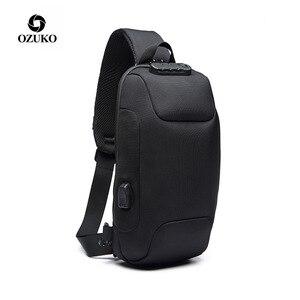 Image 2 - OZUKO Fashion Messenger Shoulder Bag Anti theft USB Charging Chest Pack Crossbody Bags for Men Sling Bag Fashion Phone Bags