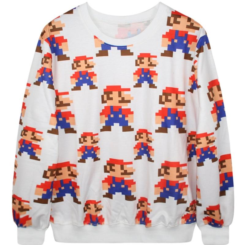 Us 1472 5 Offharajuku 3d Print Mario Sweatshirts Fashion Long Sleeve Women Hoodies Cartoon Pixels Building Blocks Mario Hooded Pullover In Hoodies