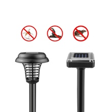 Solar-powered Electric Shock lamp Trap light Solar Power Mole Snake Mouse Pest Reject Repeller Control UV LED Mosquito Killer