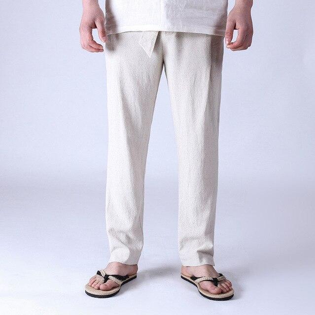 2016 New Autumn High Quality Cotton Linen Mens Casual Pants Loose Belt Trouser Big Size Pants For Men M-4XL Q554