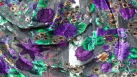 Cotton velvet Fabric Handcut Cotton Fabric Velvet Satin Materials Jacquard Brocade Violet flowers prints tissu au metre telas