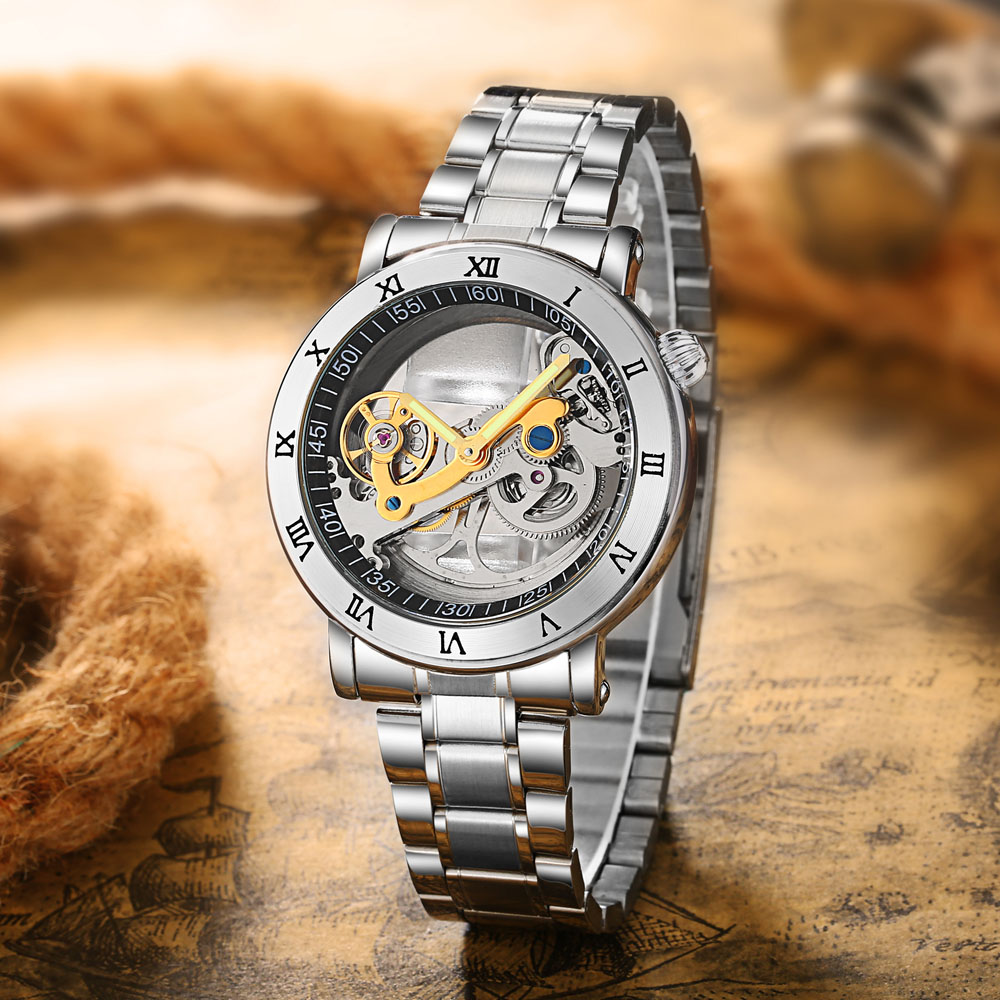 Fashion Top Men Mechanical Watch Unique Transparent Hollow Automatic Self Wind Watches Men Stainless Steel Tourbillon Watches shenhua men watches hollow transparent tourbillon mechanical watches men skeleton automatic self wind watch relogio masculino