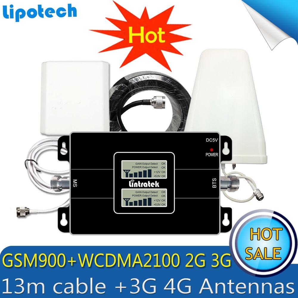 Lintratek 3g WCDMA 2100 mhz GSM 900 mhz Dual Band Mobile Signal Booster GSM 900 2100 UMTS Répéteur de Signal amplificateur 4g Antenne