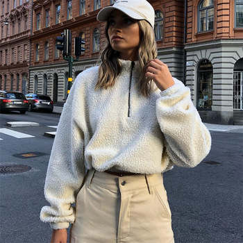 Long Sleeve Zipper High Neck Faux Lambswool Crop Tops Women Fashion Solid Coat Jacket 2019 Autumn Winter image