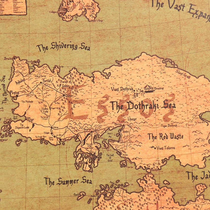 لعبة من عروش خريطة العالم الشهيرة التلفزيون سلسلة خمر كرافت ورقة المشارك غرفة المعيشة الطلاء مقهى جدار ملصقا