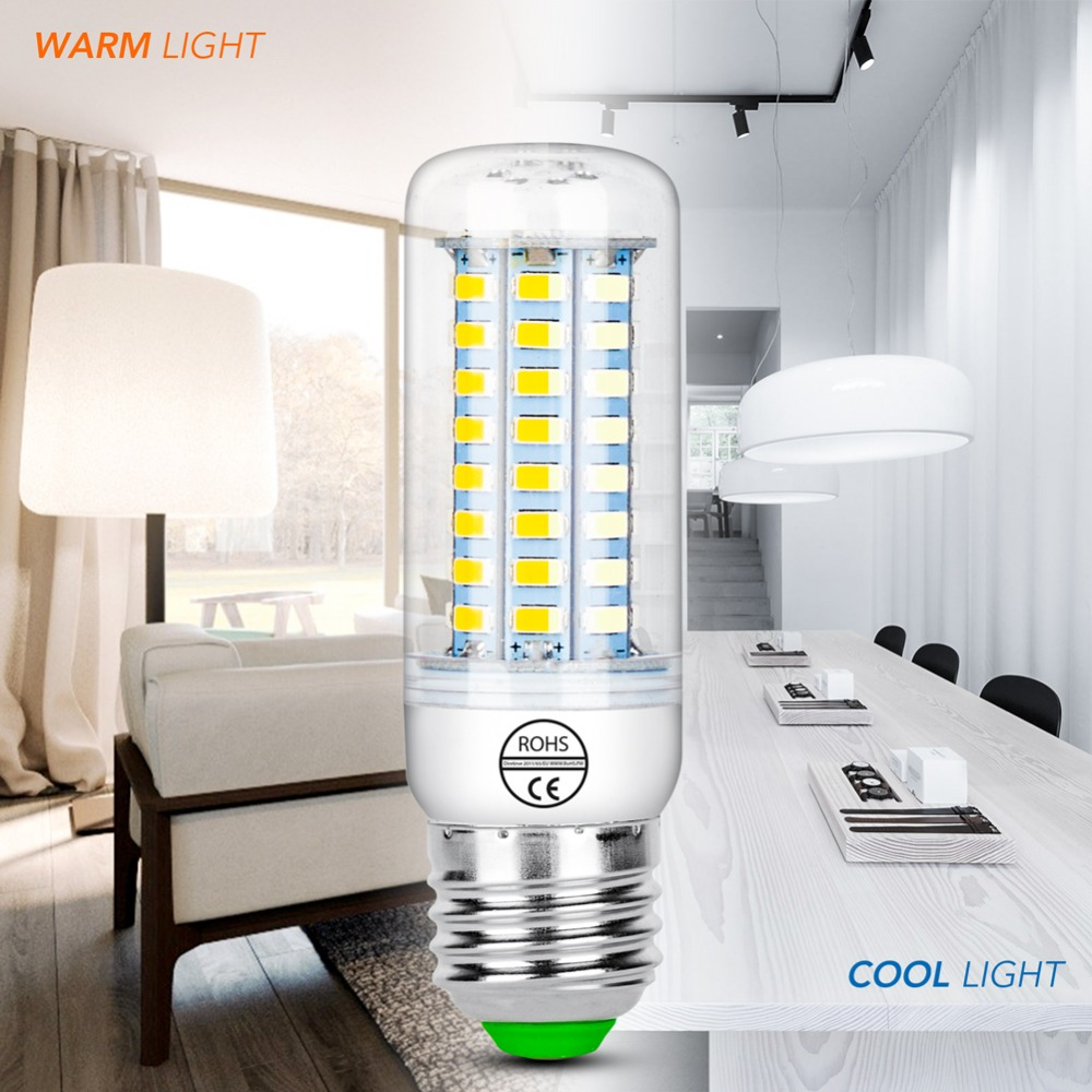 E27 LED Corn Bulb 220V E14 LED Candle Light 24 36 48 56 69 72Leds SMD 5730 230V Chandelier Lamp 7W 12W 15W 18W 20W 25W Lampada