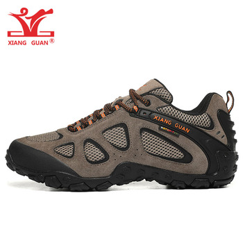 XIANG GUAN Men Hiking Shoes Women Waterproof Genuine Leather Mesh Trekking Camping Climbing Mountain Boots Sport  Sneakers