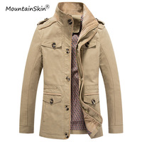 Mountainskin New Men Autumn Spring Jackets Male Fashion Trench Coats Casual Solid Slim Fit Outerwears Brand Clothing LA591