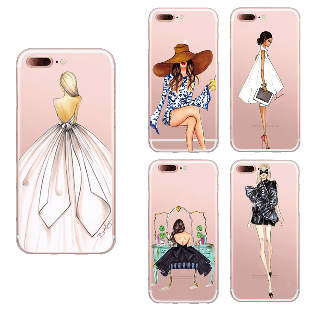 best service 0dcbe 04ed7 US $4.6 |Lovely Girl Shopping Back Cover For Apple Iphone 7 Case Fashion  Girl Painted Phone Case For Iphone 7 Tpu Capa-in Fitted Cases from  Cellphones ...