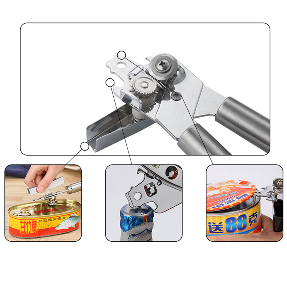 Selling Multifunctional Stainless Steel Tin Can Opener Professional Kitchen Craft Easy Grip Opener For Cans Bottle Opener