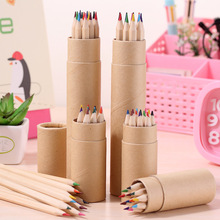 Wood color barrel lead color children's drawing graffiti environmental protection non-toxic color pencils hexagonal rod 12 color