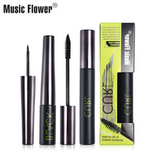 New 2pcs Makeup Set Music Flower Mascara For Eyelash Extensions Smudge-proof Extra Lash- Curling Eye liner and
