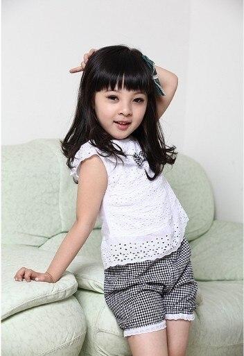 Letnie ubrania dla dzieci zestaw Koronkowe ubrania dla dzieci zestaw T-shirt i spodnie kratę spodenki 2 kolory