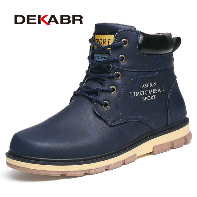 Dekabr/Популярный бренд Новые удерживающие тепло зимние сапоги Для мужчин высокое качество из искусственной кожи износостойкими повседневная обувь Рабочая Мода Мужские ботинки