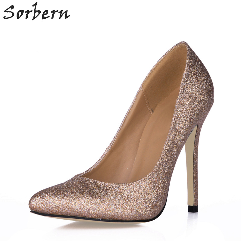 Sorbern Gold Women Pumps 12CM Heels Pointed Toe Slip On Custom Made Color Ladies Party Shoes Spring Ladies Party Pumps sorbern nude flat heel pointed toe women shoes rivets slip on spring shoes for women 2017 women flat shoes custom soulier femme