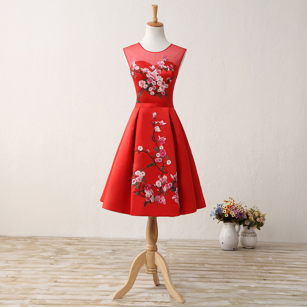 Aliexpress buy bridesmaid dresses red 2017 real photo aliexpress buy bridesmaid dresses red 2017 real photo embroidery knee length lace up hollow maid of honor adult wedding party dresses 10131046 from ombrellifo Image collections