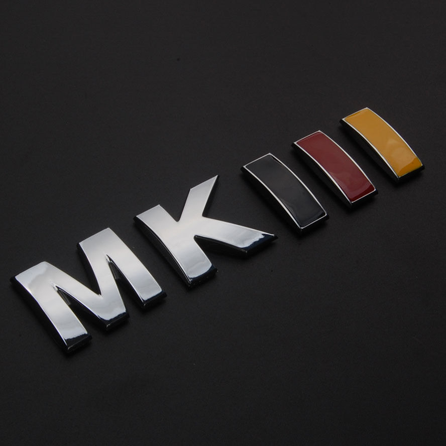 BBQ@FUKA Auto Car-styling German Flag Color MKIII Rear Trunk Badge Emblem Sticker For Volkswagen Golf Jetta MK3 Beetle GTI MK2 bbq fuka 2pcs aluminum car styling auto pininfarina disegno for hyundai kia focus 2 renault tiburon emblem badge car sticker