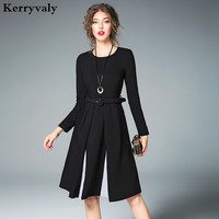 Hepburn Women Little Black Dress Vetement Femme 2017 Autumn Long Sleeved Office Midi Dress Vestidos Playa