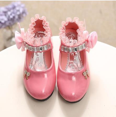 Toddler Kids Baby Girls Bow Cartoon Bling Sequins Single Princess Shoes