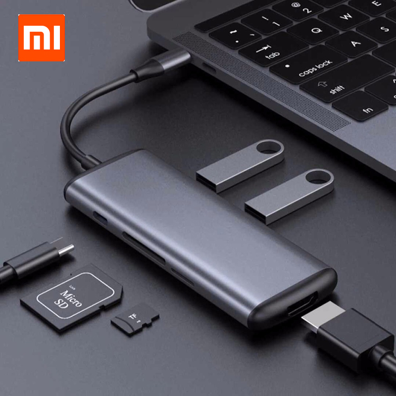 Newest Xiaomi HAGIBIS USB Type-C Charging Adapter 6 in 1 Type C TF /SD /PD /2 USD 3.0 /HDMI Charging Converter Charger цены онлайн
