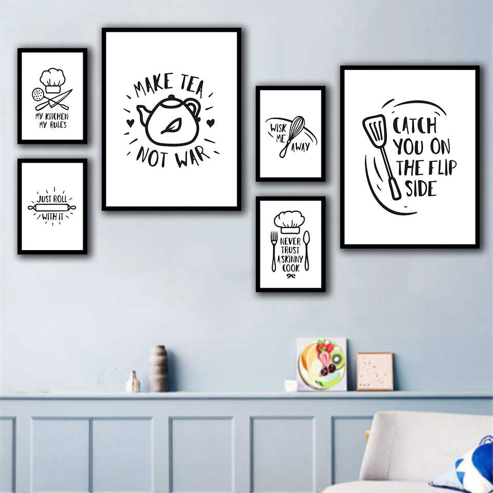 Printed Pictures Home Wall Art Modular Poster Black And White Simple Restaurant Tools Paintings On Canvas Kitchen Decoration Painting Calligraphy Aliexpress