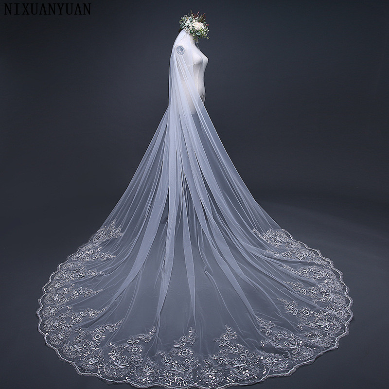 NIXUANYUAN Real 2019 Voile 3M Veil One Layer Lace Edge Ivory White Cathedral Wedding Veil Long Bridal Veil Veu De Noi Longo