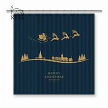 Nyaa Winter Village Santa Sleigh Flying Golden Polyester Fabric Shower Curtain For Bathroom with Hooks(China)