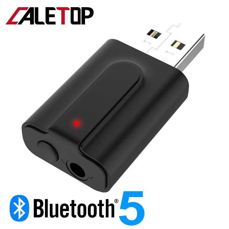 CALETOP 5.0 Bluetooth Transmitter Receiver TV 2 IN 1 3.5mm AUX HIFI Stereo Audio USB Mini Wireless Adapter For Speakers Car PC