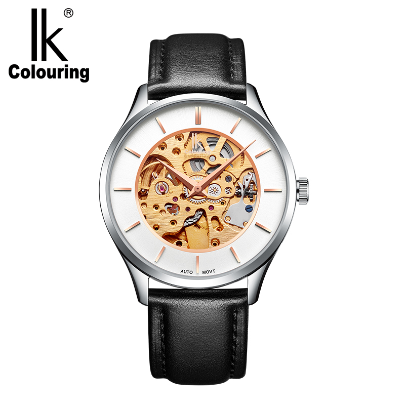 IK Colouring Clock Men Mechanical Skeleton Male Wrist Watch Genuine Leather Strap 5ATM Waterproof Automatic Wristwatches