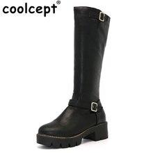 Coolcept Mujer Rodilla Punta Redonda Botas Mujeres Hebilla de Tacón Cuadrado Estilo Bootines Femenino Cremallera Knight Boot Zapatos de Mujer Talla 34-43