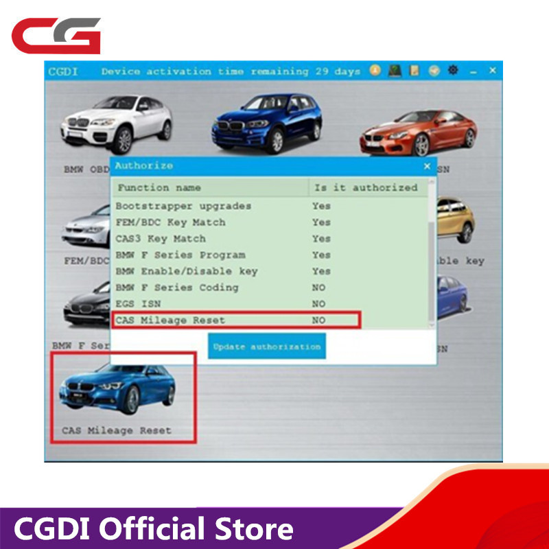 CAS Mileage Reset Authorization For CGDI Prog For BMW MSV80 Key Programmer Add In 24 Hours