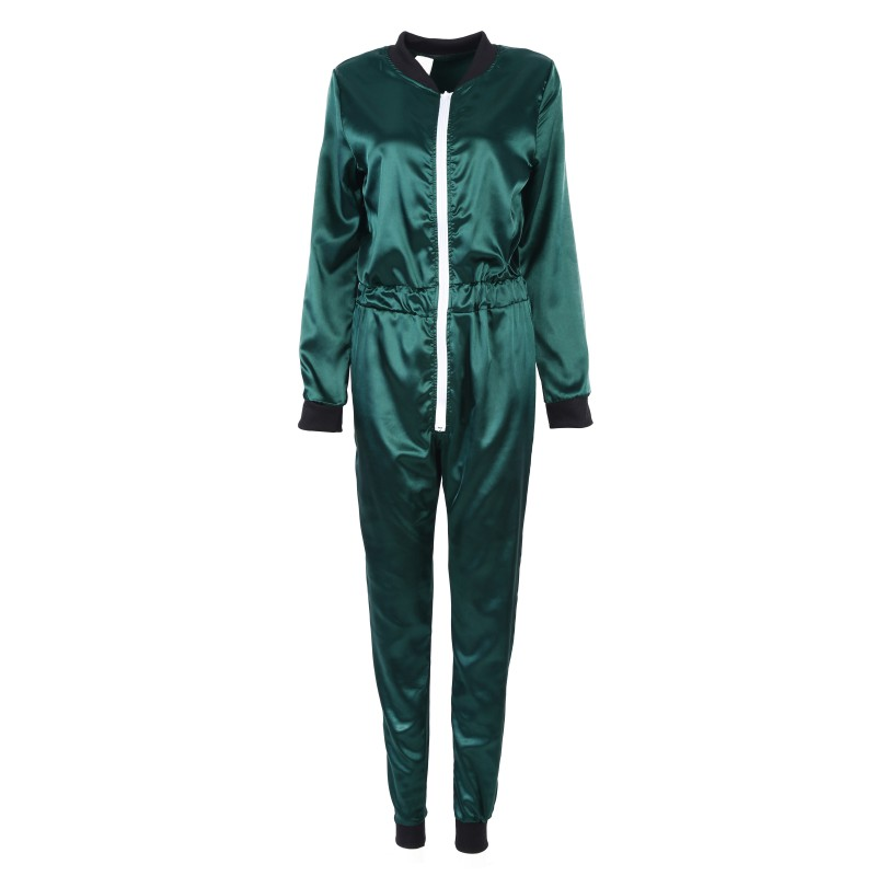 2017 Female O-Neck Silk Jumpsuit Pure Colors All In One Piece Tracksuit Playsuit Elegant Long Sleeve Jumpsuit 3 ColorsS4