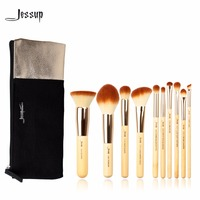 Jessup Brand 10pcs Beauty Bamboo Professional Makeup Brushes Set T136 Cosmetics Bags Women Bag CB001