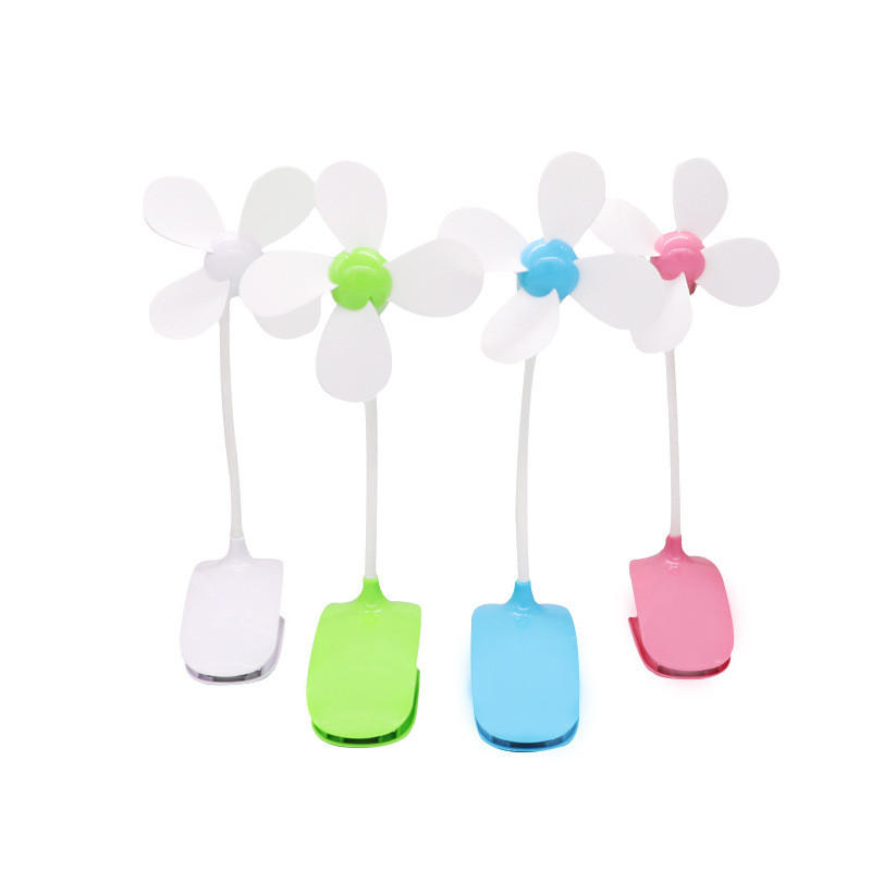 Cute Small Electric Table Mini Rotary Fan Gift Rechargeable Student Office Desktop Fan Summer Four-leaf Clip Mute USB Dormitory