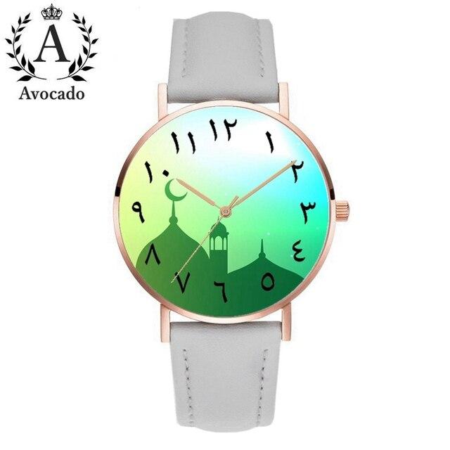 Avocado 2019 New Leather Arabic Watch Islam Castle Fashion Quartz ...