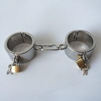 New type locking stainless steel handcuffs bdsm fetish wrist bondage restraints sex toys slave hand cuffs torture device