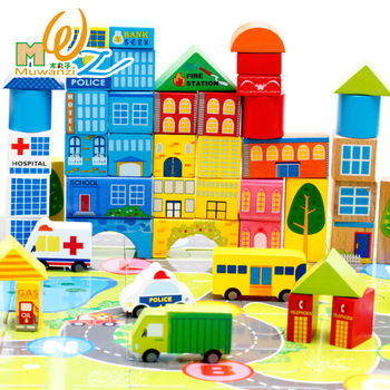 Wooden 62PCS building blocks of urban traffic scene set Wood blocks toy for enlightening children Educational