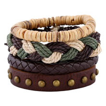 4 PCS/Set Rope Braided Leather Bracelet Set for Man Woman Punk Casual Wristband Hand Jewelry Gift Drop shipping