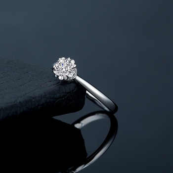 Certified 0.5CT VS D color Charles Colvard Moissanite Engagement Ring Genuine 18K White Gold Women Diamond Jewelry Au750 Stamp