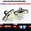 2 x LED Number License Plate Lamps OBC Error Free 18 LED For Honda Jazz Odyssey Stream Insight CR-V FR-V