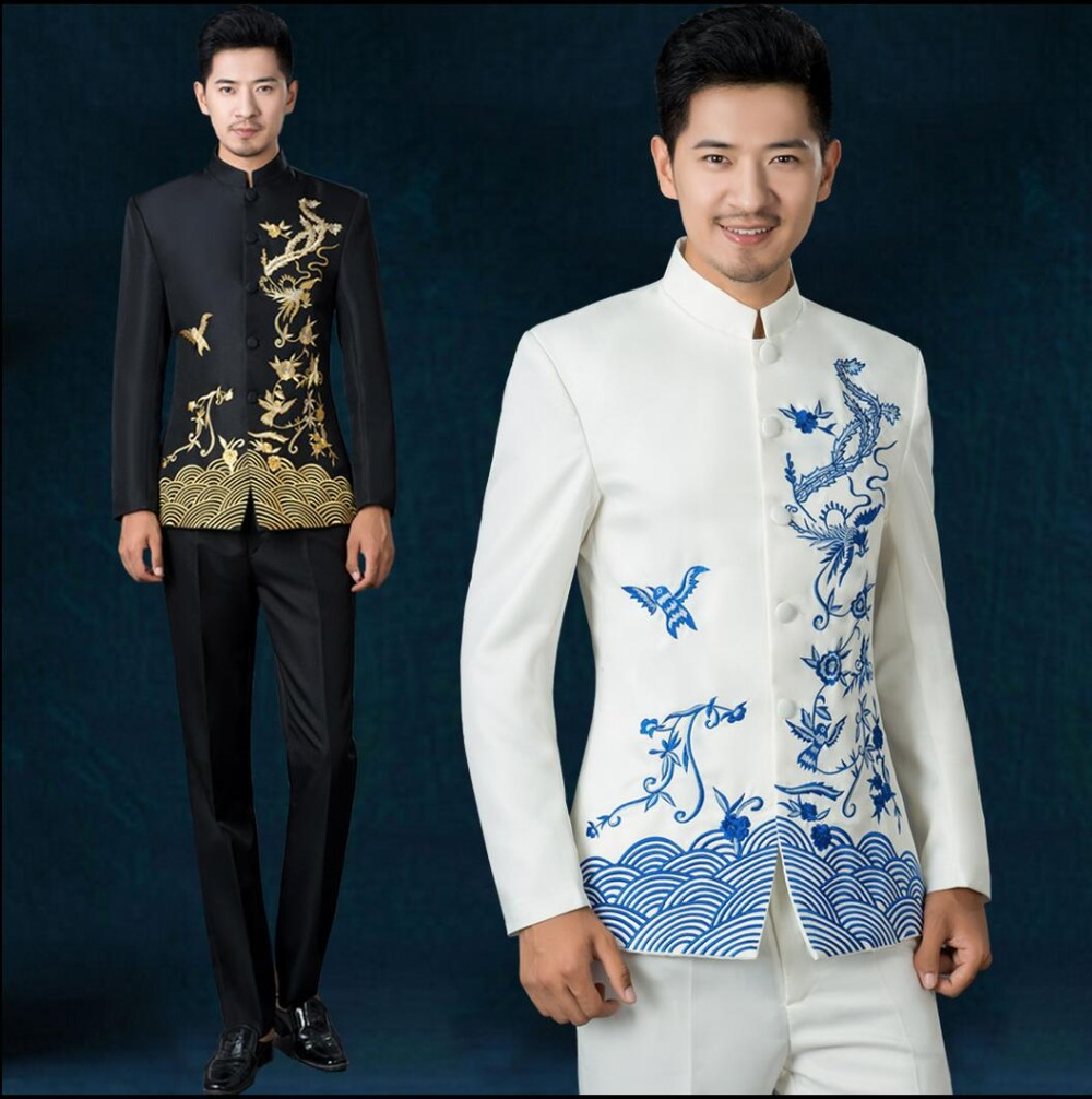 2019 New stand collar embroidery chinese tunic suit men blue and white singer costume set Groom wedding formal dress Suit +pants