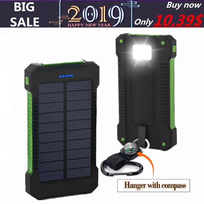 TOP Solar Power Bank 30000 mAh Solar Ladegerät Externe batterie Ladegerät Wasserdichte Solar Power für Smartphone mit LED Licht