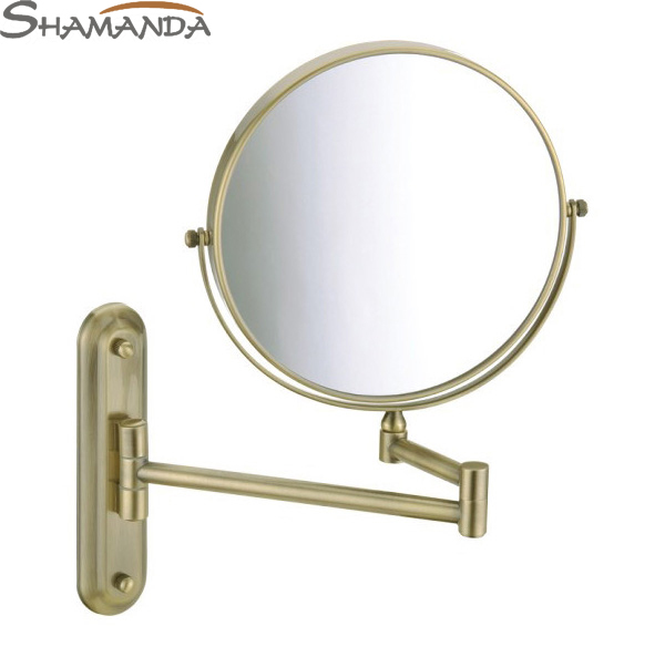 Free Shipping High Quality Solid Brass Antique Bronzecosmetic Mirror In Wall Mounted Mirrors Bathroom Accessories Products-60021 free shipping high quality bathroom kitchen washroom wall door back single hook antique brass cloths cap bag key hooks 239