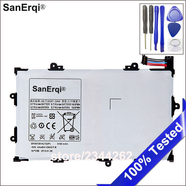 SanErqi 5100mAh High Quality pc Battery For Samsung GALAXY Tab 7.7 P6800 P6810 GT-P6800 GT-P6810 SP397281A(1S2P) With Free Tools