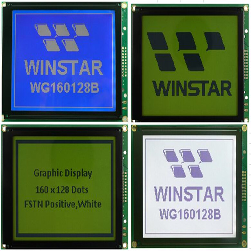 WG160128B WINSTAR is monochrome graphic LCD 160x128 dot matrix display module of 129x102 and 95 96x75