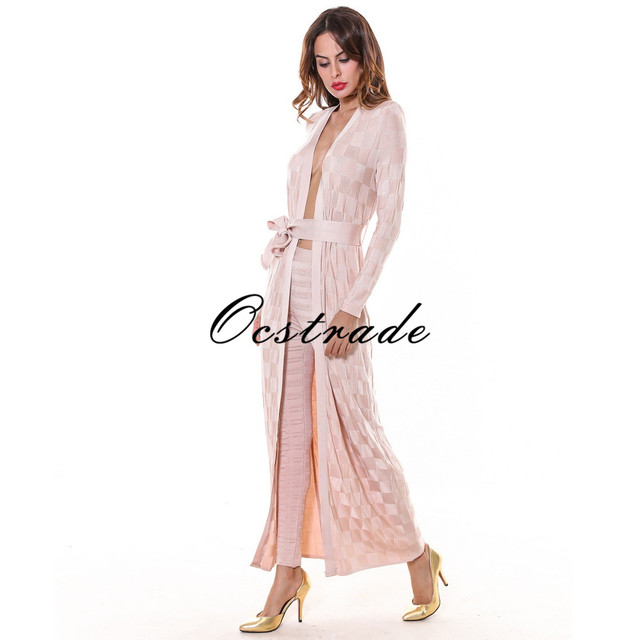 Free Shipping New Women Summer Casual 2016 High Quality Pencil Nude Checkered Jacquard Rayon Bandage Pants Leggings and Cardigan