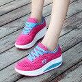 Новый Женщины Причинно-Следственной Обувь 2016 Спорт Мода Квартиры Высота Увеличение Платформа Мокасины Дышащей Сетки Воздуха Качели Клин Летняя Обувь