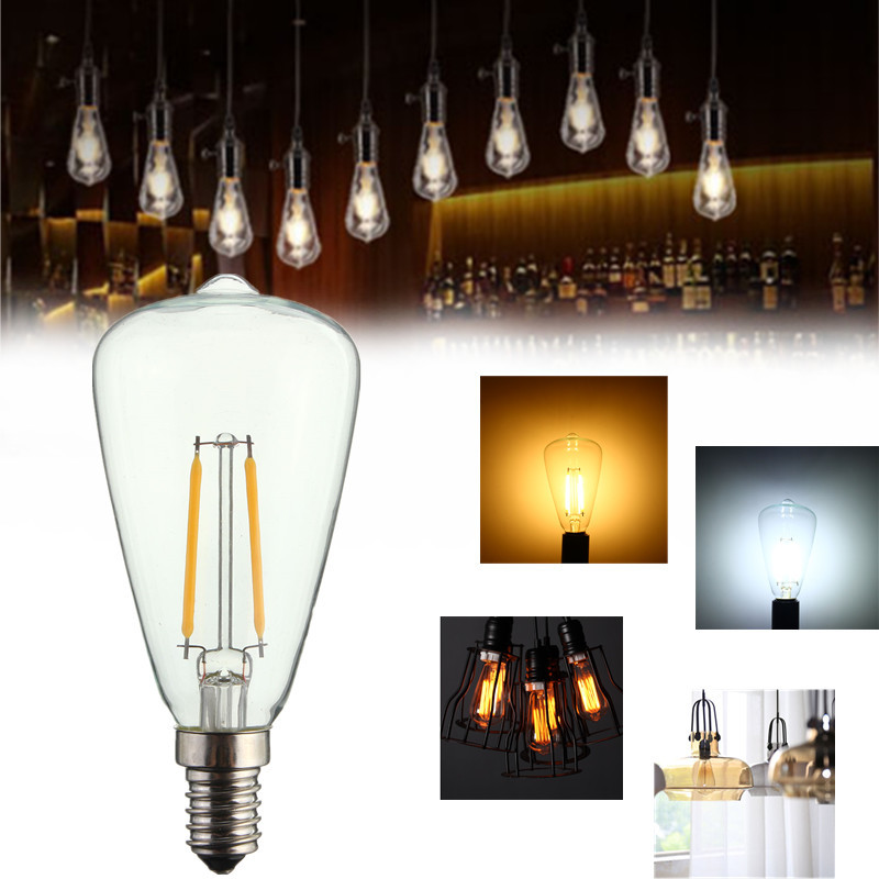 Vintage LED Light Edison Bulb E14 COB 2W 4W Antique Industrial Filament Lamp Candle Light Pure Warm White Non Dimmable 220V vintage edison bulb led e27 e14 lamp filament light vintage led bulb lamp 220v retro candle light 2w 4w 6w 8w g45 g80 g95 g125